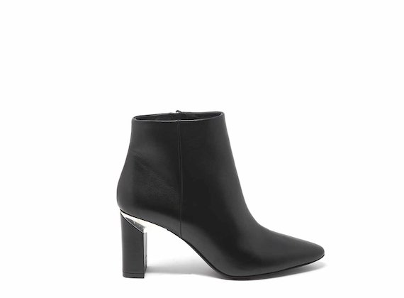 Black leather ankle boots with block heels
