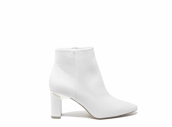 White leather ankle boots with block heels