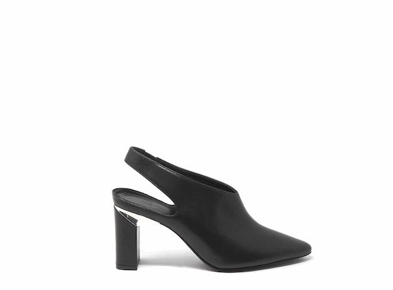 Black slingbacks with block heels