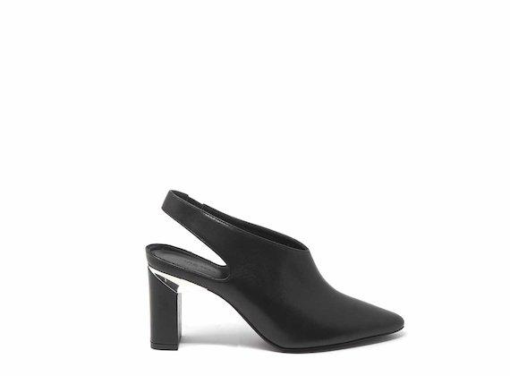 Black slingbacks with block heels
