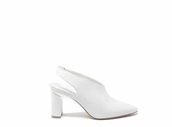 White slingbacks with block heels