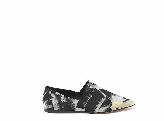 Floral-fabric slip-ons