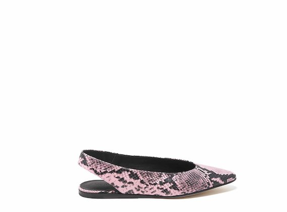Snakeskin-effect ballerinas with open back
