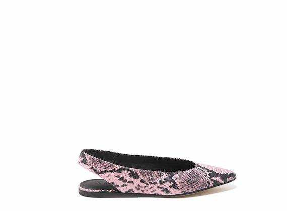 Chanel Ballerina mit Reptileffekt - Pink