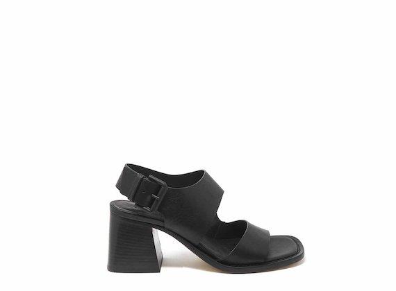 Sandales en cuir noir à bandes asymétriques - Noir