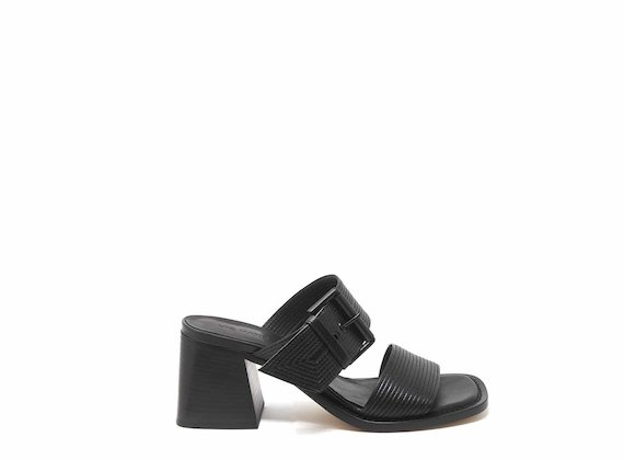 Slip-ons with topstitching and buckle - Black
