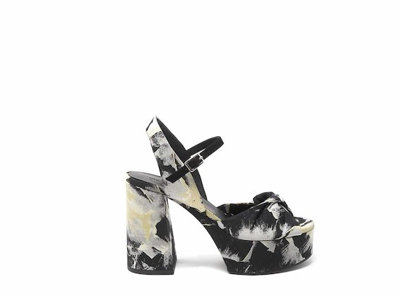 Floral-fabric wedge sandals