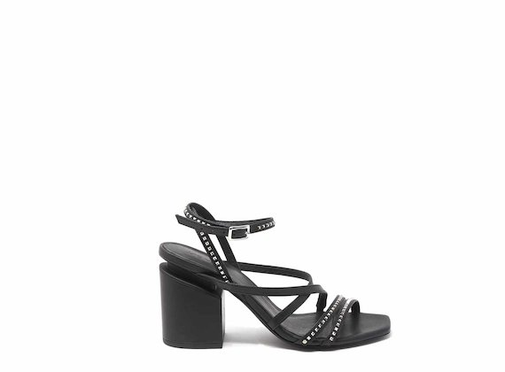 Sandals with suspended heels and micro studs