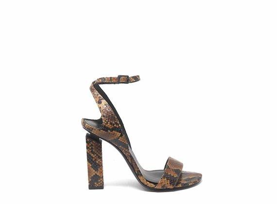Sandalo effetto rettile alto con cinturino alla caviglia - Marrone