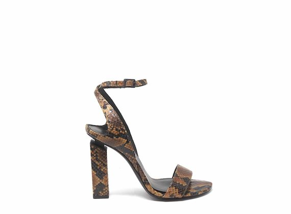 High-heeled snakeskin-effect sandals with ankle strap