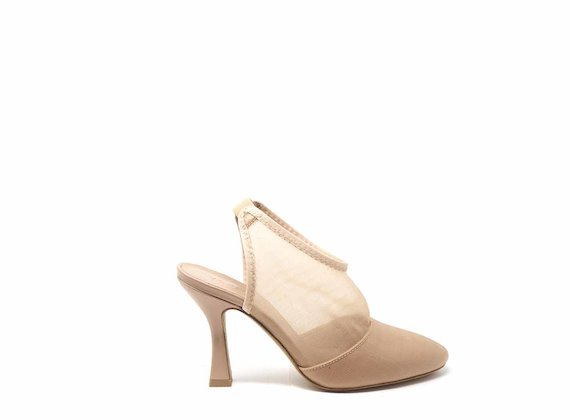 Nude mesh open-back shoes