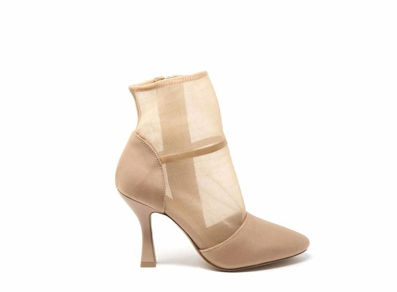 Nude mesh ankle boots