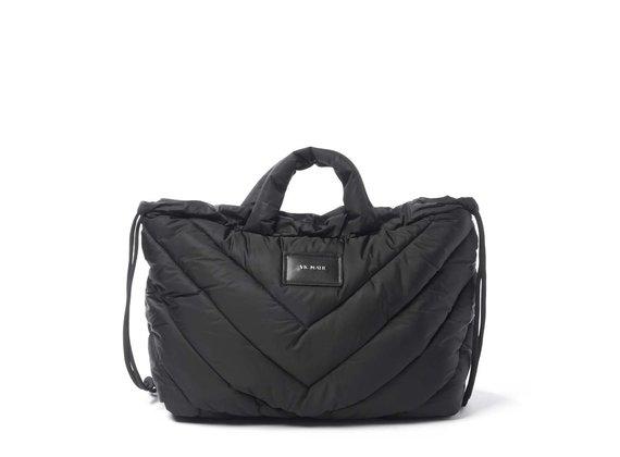 Penelope T.<br>Verschließbare Rucksacktasche aus schwarzem Steppmuster-Nylon