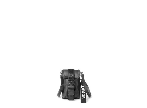 Fanny<br />Porta smartphone in pelle di vitello nera