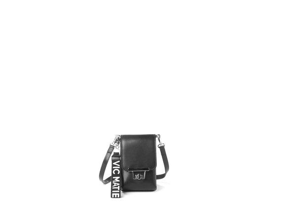 Felicity<br />Étui pour smartphone en cuir de veau lisse noir