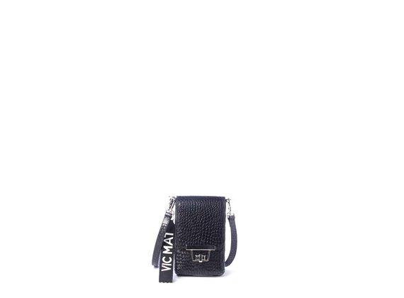 Felicity<br />Smartphone-Halterung aus schwarzem krokodilbedrucktem Kalbsleder