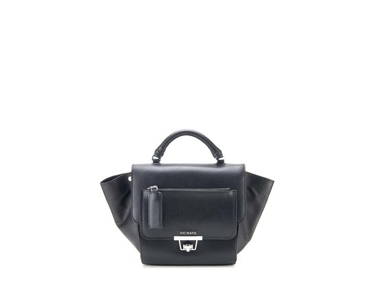 Ginevra<br> satchel in smooth black calfskin