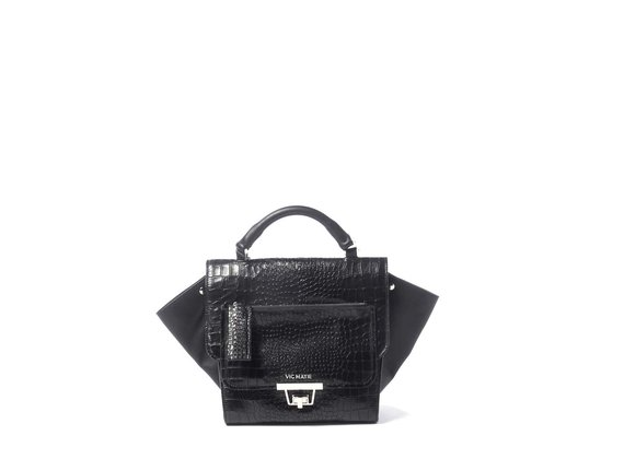 Ginevra<br> satchel in black crocodile-print calfskin