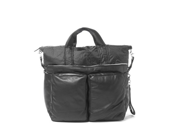 Alanis<br> padded shoulder bag in black leather
