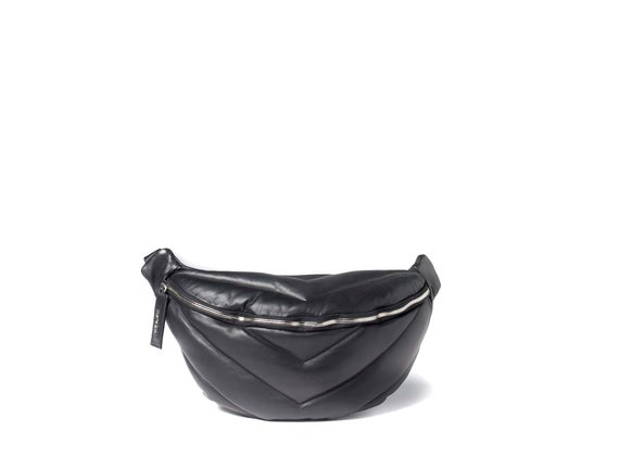 Egle<br> large black quilted leather waist bag