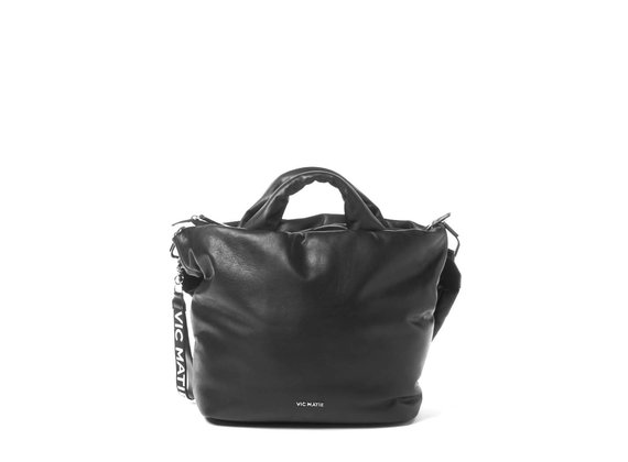 Ruth Big<br>Bag in pelle nera dalla forma svasata