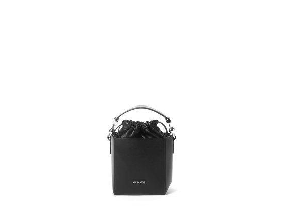 Sheila<br> structured black leather bucket bag.
