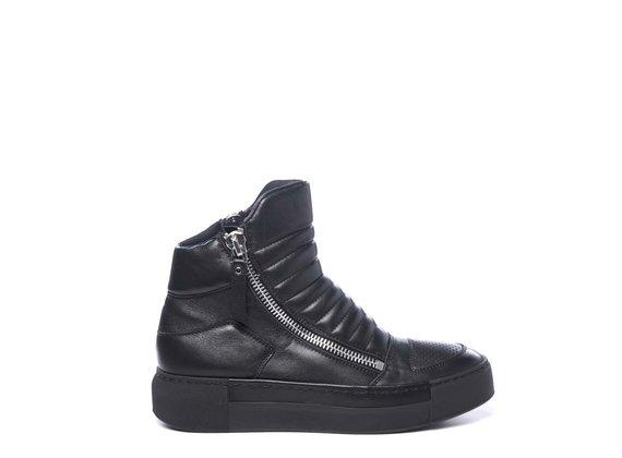 Biker-style black ankle boots in calfskin