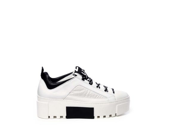 White calfskin and nylon trainers