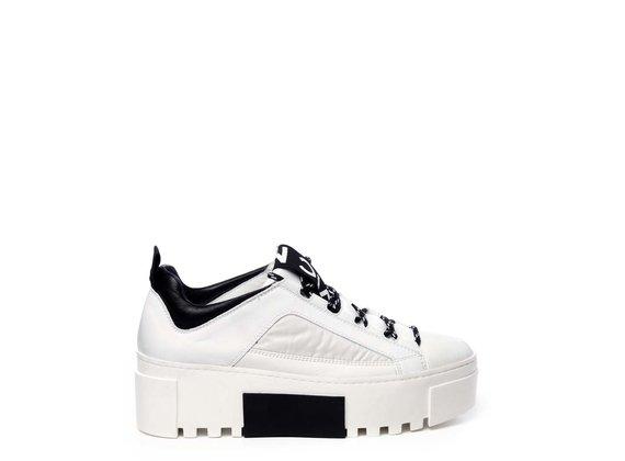 Sneaker en cuir de veau et nylon blanc