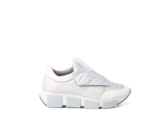 Ice-white quilted running shoes in split leather and fabric
