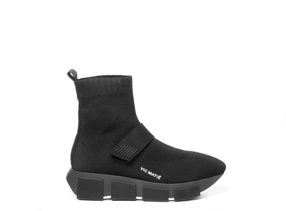 Black knit technical-style high-top running trainers