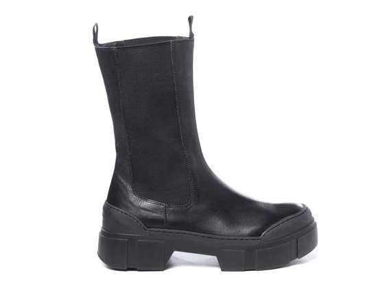 High black calfskin Beatle boots