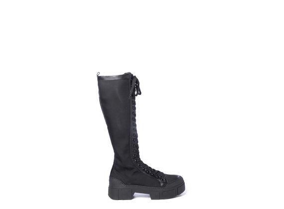 Black fabric/nubuck leather combat boots