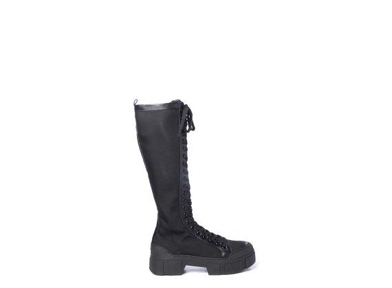 Black fabric/nubuck leather combat boots