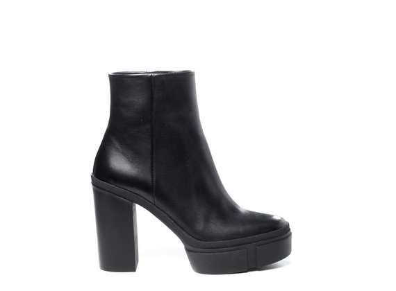 Black calfskin ankle boots with platform