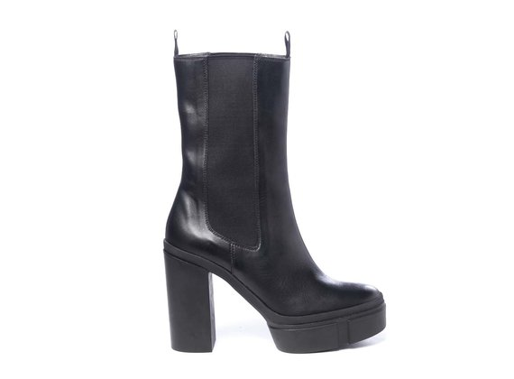 High black calfskin Beatle boots with platform