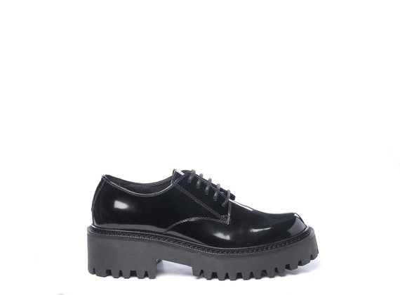 Black brushed leather derbies - Black
