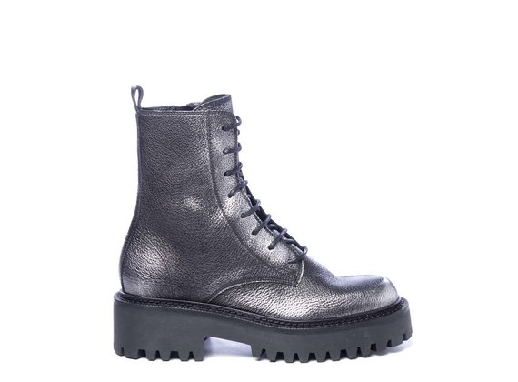 Silver laminated leather combat boots