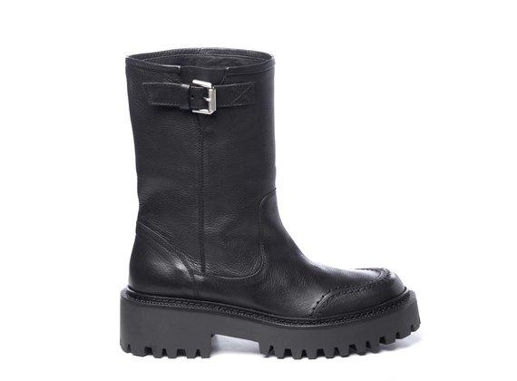 Biker boots in black calfskin