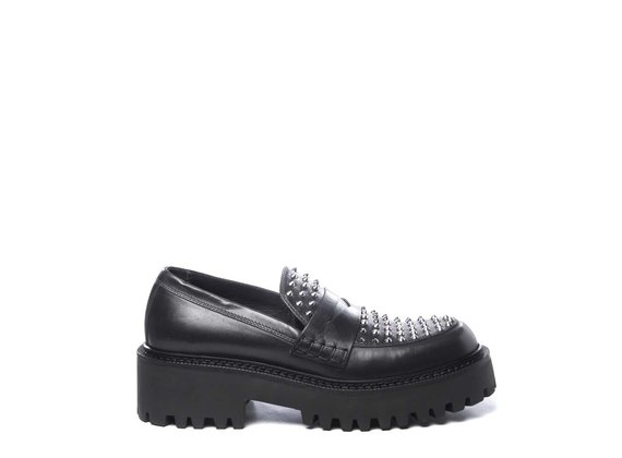 Black calfskin moccasins with studs