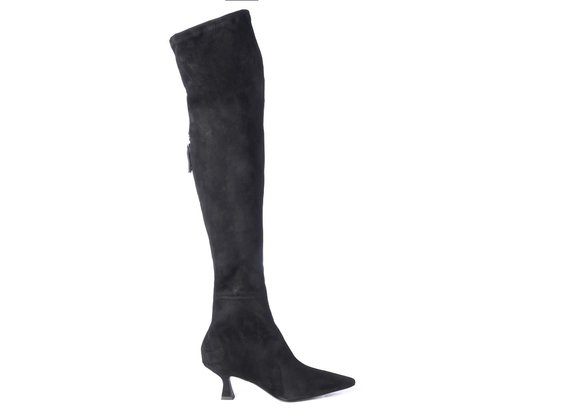Black over-the-knee suede boots with spool heels