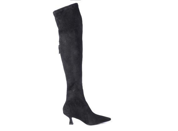 Schwarzer Overknee-Stiefel mit Diabolo-Absatz aus dehnbarem Veloursleder