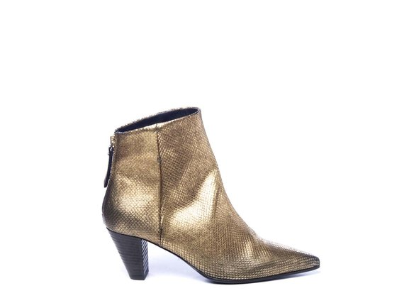 Zipped bronze ankle boots in laminated leather with cone heels