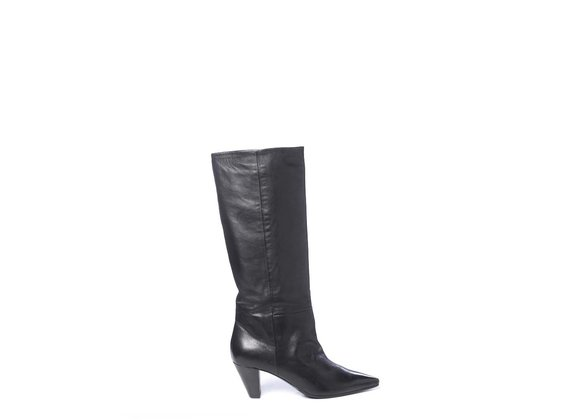 High boots in soft black calfskin with cone heels