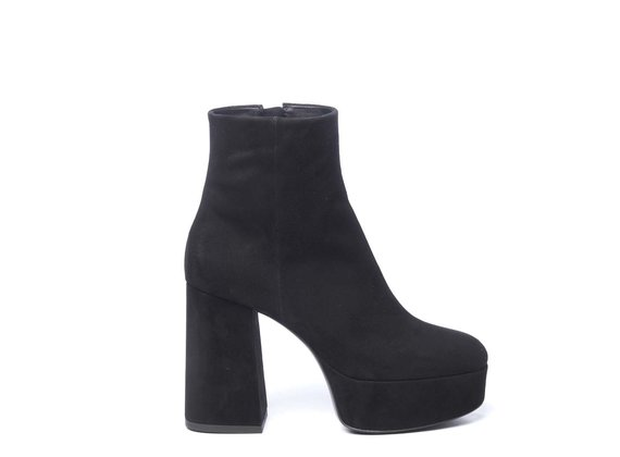 Black suede ankle boots with platform