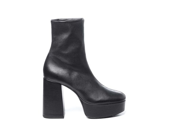 Bottines en cuir stretch noir