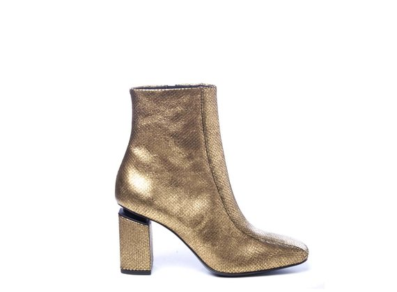 Bronze laminated leather ankle boots with suspended heels