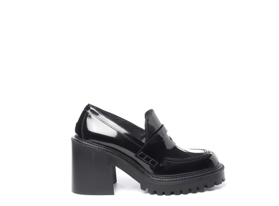 Lugged-sole moccasins in brushed black leather