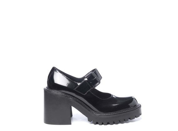 Black brushed leather Mary Janes with lugged soles