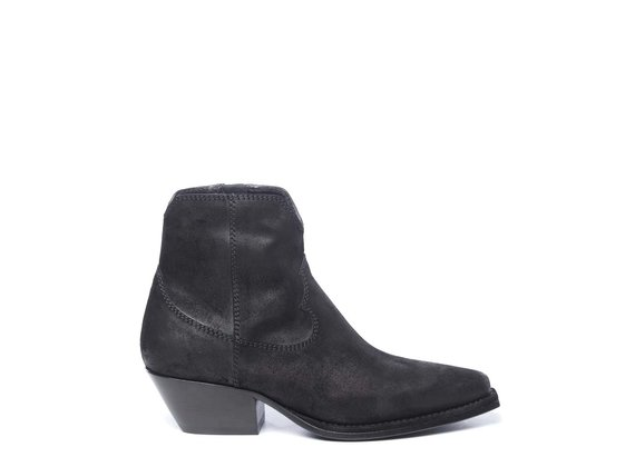Black cowboy ankle boots in split leather